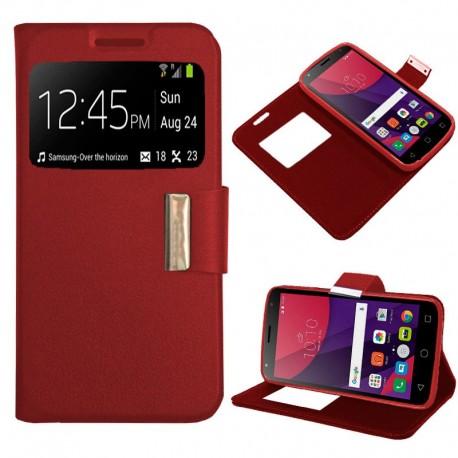 Funda COOL Flip Cover para Alcatel Pixi 4 (5) 4G / Smart Turbo 7 Liso Rojo