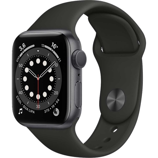Apple Watch 6 44mm Space gray with Black Sport Band